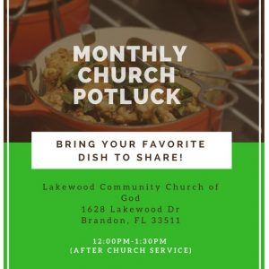 Monthly Church Potluck @ Lakewood Community Church of God